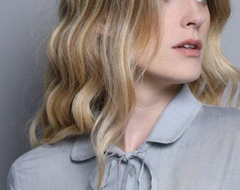 Gray blouse for women, womens blouses, gray tailored long sleeve blouse for women, gray collar blouse, light gray button down blouse