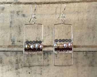 Long silver wire wrapped rectangles with 4 stripes of beads