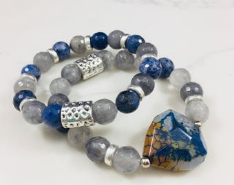 """Set of 2 """"Gabby"""" dumortierite, agate and smokey quartz beaded bracelets • Fast and free shipping"""