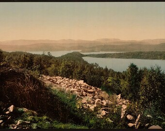 Panorama from Bolkesjo, Telemarken (i.e, Telemark), Norway] 1890. Vintage photo postcard reprint 8x10-up. Norway Telemark fylke