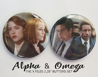 "Alpha & Omega The X Files Button Set | 2.28"" buttons 