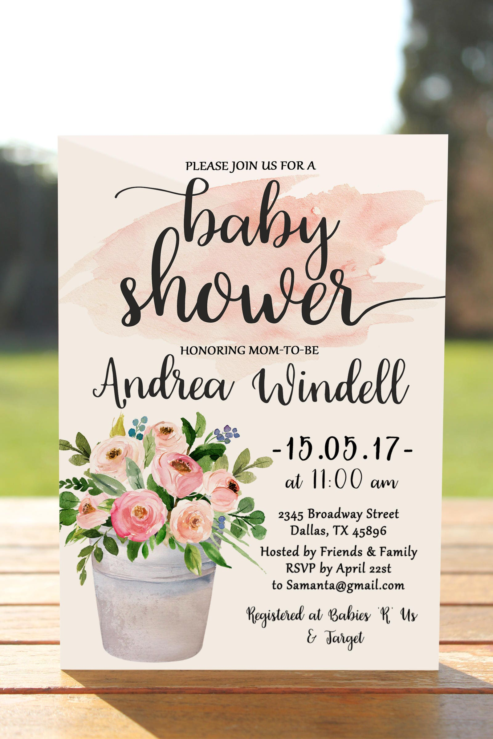 Floral baby shower invitation girl printable baby shower