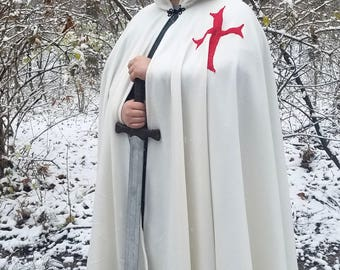 Knight Templar Long Cloak - Full Circle White Fleece Medieval Renaissance Hooded Cloak with Red Cross - Costume Cape with hood