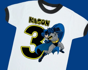 Batman Birthday Ringer Tee. Super Hero Birthday Shirt. Personalized with Name Age or Number. 1st 2nd 3rd 4th 5th 6th 7th Birthday. (25064)