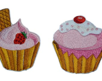 2 pcs Cupcakes patches Iron on cake patch Iron on cake applique iron on embroidery cake sew on appliques cakes iron cake