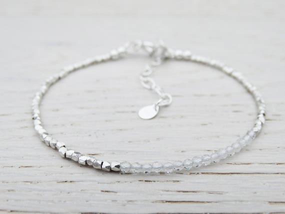 Skinny Silver & Topaz Bracelet, Sterling Silver