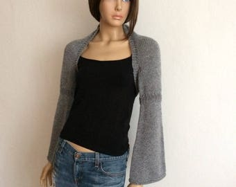 Bell Sleeve Crop Top, Cropped Cardigan, Knit Shrug, Boho Sweater, Cropped Tops for Women, Chunky Knit Sweater