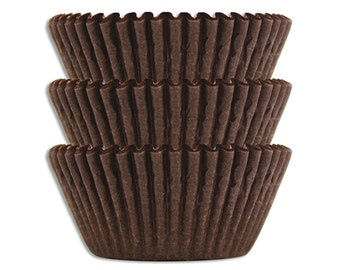 Solid Deep Brown Baking Cups - 45 solid chocolate brown paper cupcake liners