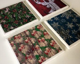 Christmas Themed Tile Coasters