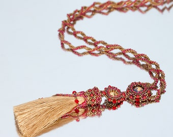 Long lariat necklace Tassel necklace Gold tassel necklace Y drop necklace Lariat pendants Red Gold necklace | Long beaded tassel necklace