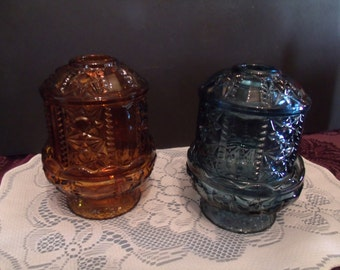 Set of two Vitage Indiana Glass Fairy Lamps, from the 60's (#520)