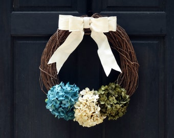 Rustic Summer Wreath, Grapevine Wreath, Hydrangea Wreath, Front Door Wreath, Spring Wreath, Front Door Decor, Door Hanger, Blue Green Wreath