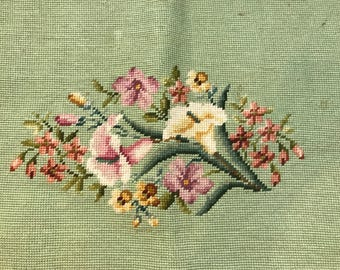 "Older Floral Needlepoint, Beautiful Floral Print on Green Background, 20"" X 26"""
