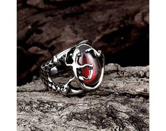 Stunning Red Crystal stainless steel ring