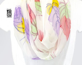 Handpainted Silk Scarf, Feather Scarf, White Silk Scarf, Chiffon Scarf, Infinity Scarf, Loop Scarf, Circle Scarf, Purple, Mint Green Feather