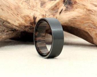 Black Zirconium Wood Ring Lined with Ancient Russian Bog Oak