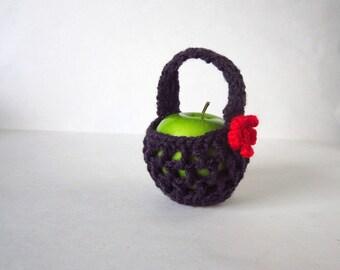 Dark Purple Apple Cozy - Small Crochet Bag - Handmade Fruit Cozy - Teacher Gift - Apple Jacket - Fruit Pouch - Back to School Food Cozy