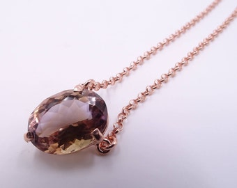 Ametrine pendant necklace in silver rose gold plated. Mothers day gift