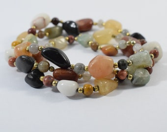 Multiple bagel beads  36 Pieces 16 Inch Strand  Over Different Gemstones. Multicolored. Multiple Uses SAJ00167