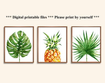 Tropical Wall Art, Tropical Home Decor, Tropical Leaves Art, Pineapple,  Monstera,