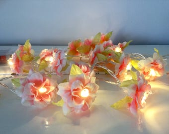 Pink roses fairy string lights,  roses string lights, battery operated lights
