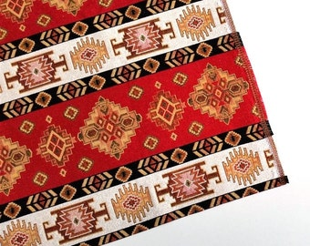 Ethnic Tribal Style Upholstery Fabric, Aztec Navajo Fabric, Geometric Design Kilim Fabric, Red-White-Yellow, by the Yard/Metre, Ycp-019
