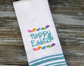 Easter Kitchen Towel, Easter Decor, Embroidered Kitchen Towel
