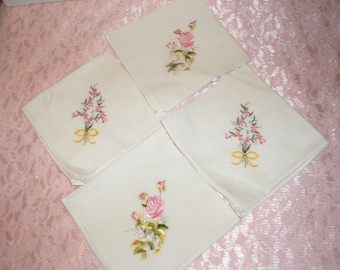 Hanky Hankerchief Four Cotton White W/Pink Flower Embroidery