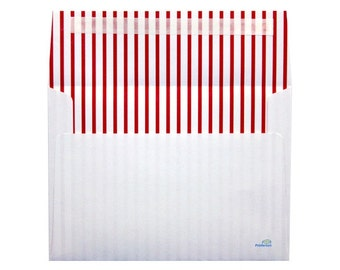 Red and White Stripe Lined Envelopes - Set of 21 A7 Size - Perfect for 5x7 Photos or Cards