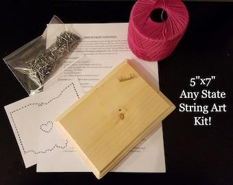 "5""x7"" Any State DIY String Art Kit"