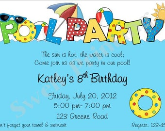 Pool Party Invitation Pool Birthday Invitation Swimming Birthday Invitation Pool Birthday Party