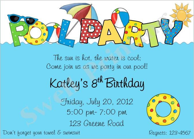 Pool Party Invitation Pool Birthday Invitation Swimming