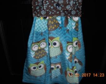 Owl Hanging Kitchen Towel, Owl Hanging Kitchen Towel, Kitchen Towel, Blue Kitchen Towel, Blue Hanging Kitchen Towel, Brown  Kitchen  Towel