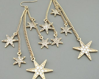 Statement Earrings - Gold Earrings - Boho Earrings Festival Earrings - Star Earrings - Long Chain Earrings - handmade jewelry