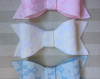 Felt and Lace Bow in Pink, Neutral or Blue