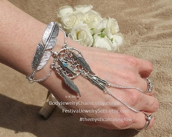 Sale Dream catcher feather hand bracelet, hand chain, silver slave bracelet, designed to sit above knobby wrist bone, Lead free fitted adjus