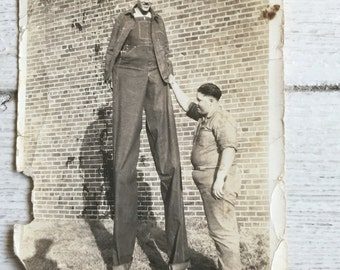 Giant Man Sideshow Carnival Circus Antique Photo Stilts