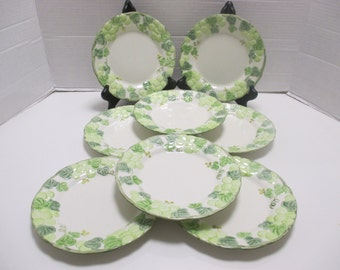 Metlox Vernonware Poppytrail - Traditional Shape  - Green Grape Arbor Pattern - Set of 4 Salad Plates (2 sets available)