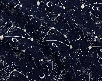 Capricorn Fabric - Zodiac Constellations Capricorn By Elliottdesignfactory - Capricorn Astrology Cotton Fabric By The Yard With Spoonflower