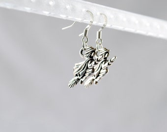 Silver Witch Earrings - Halloween Earrings, Witch Charm, Witch Jewelry, Halloween Jewelry, Witch Jewellery, Costume, Goth