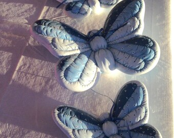 "Large ceramic butterflies 3pc 9"" 7"" 6"" handcrafted 3D puffy quilted butterfly set wall decor blue white"