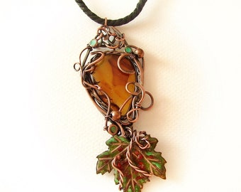 Copper Pendant - Agate and Enameled Leaf