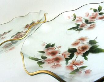 Vintage Cherry Blossom Ruffled Glass Plates Set of 2
