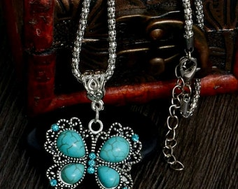 Turquoise Butterfly Necklace, Antique,  Vintage Style