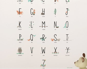 Woodland Animals Alphabets Removable Wall Sticker