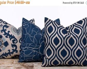 SALE ENDS SOON Blue Pillow Covers, Indigo Blue Pillows, Dark Blue Cushions, Decorative Throw Pillows, Suzani Pillow, Set of 3
