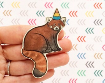 Red Panda Brooch - Cute animal brooch - Animal jewelry  - Unique Boutonnière - Red Panda Jewelry