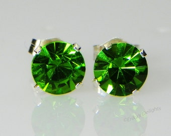 3mm - 8mm Crystal Olivine Green Sterling Silver Earrings Made with Swarovski Crystals (gift box included)