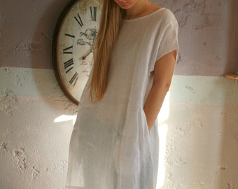 White linen dress tunic, fine thin washed linen top with sleeves, boat neckline, linen dress with pockets