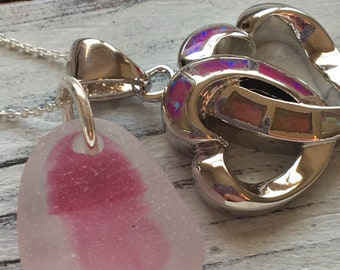 Sterling Silver, Fire Opal heart pendant  with One of a Kind pink Sea Glass by Seyshelles